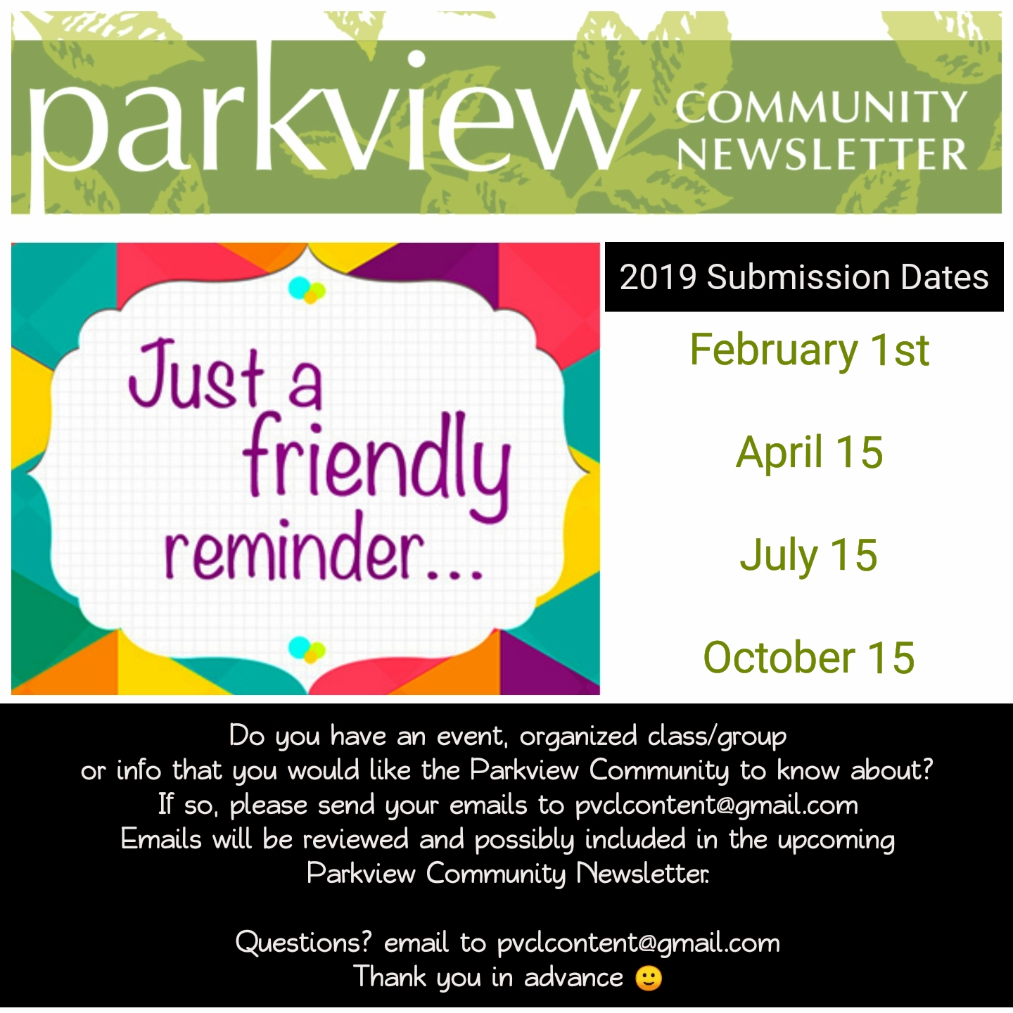 parkview newsletter dates 2019